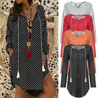 Plus Size Women's Boho Summer Long Sleeve Long T-Shirt Ladies Casual Dress US