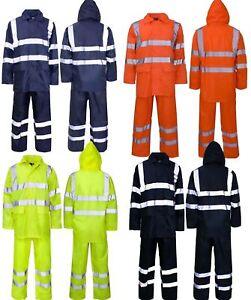 Hi Vis Viz Visibility Work Wear Safety Over Trousers And Waterproof Jacket Set