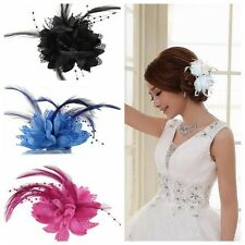 Women Girl Flower Feather Corsage Hair Clips Hairband Pin Bracelet Cosplay Party