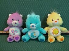 Lot of 3 Plush Care Bears 7 and 8 inch, Funshine, Bedtime, Purple Lollipops