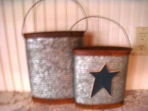2 Primitive Style Farmhouse Galvanized  Bucket Basket Wall Hanging Bins