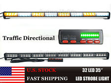 "32 LED 35"" 20 Flasher Traffic Adviser Emergency LED Strobe Light Bar Amber&White"