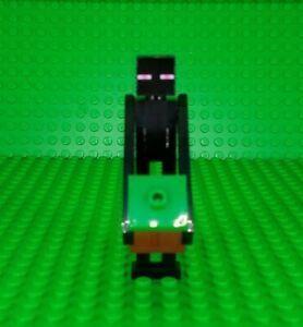 LEGO MINECRAFT ENDERMAN MINIFIGURE min049 WITH GREEN & REDDISH BROWN DIRT BLOCK