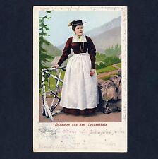 Tirolo ragazza del Leukental Costume/Costume * artisti-AK per 1900