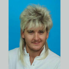80s Bleached Blonde Mullet Mens Wig Layered Fancy Dress Party Costume Bogan