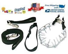 Dog Training Prong Pinch Collar 4 Piece Kit Set Leash Treat bag by RKF TOOLS