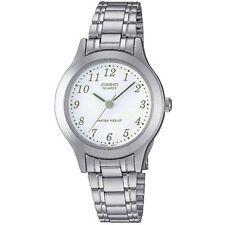 Casio Uhr LTP-1128PA-7B Damen Armbanduhr Edelstahl Weiß Silber Watch NEU & OVP
