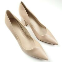 Marc Fisher Womens Nude Beige Leather Pointed Toe Block Heels Size 9M