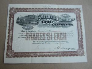 Old Vintage 1901 - EASTERN CONSOLIDATED OIL Co. - Stock Certificate - MAINE
