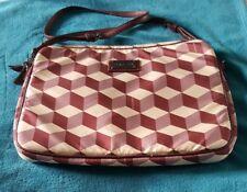 OROTON Laptop Tablet Bag Leather Fabric Maroon Crossbody Satchel Messenger