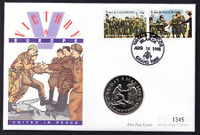 1995 Turks & Caicos stamps & coin on Victory in Europe VE United Peace Cover