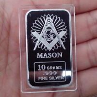 10 Grams .999 Fine Silver Bullion Bar /  Freemason  oz TSB096