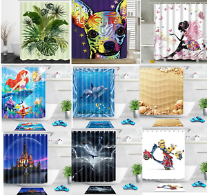 3D Waterproof Polyester Fabric Shower Curtain Panel Décor 12 Hooks 180 x 180 cm