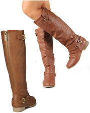 SIZE 6.5 TAN KNEE HIGH RIDDING WOMAN BOOT FLAT HEEL COMBAT SLOUCH BUCKLE SEXY C1