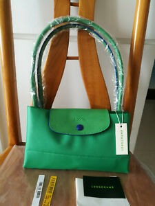 Auth Longchamp New Le Pliage Nylon Tote Handbag Green Horse Embroidery