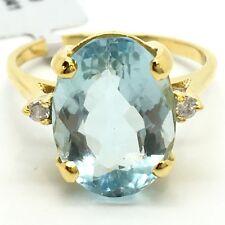 14K Yellow Gold Natural Topaz and Diamond Ring. November birthstone