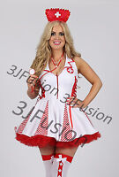 Ladies Sexy White/Red Nurse Costume outfit Hen Party Fancy Dress FREE POST (AR)