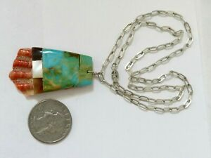 Santo Domingo Turquoise Inlay Spiny Oyster Shell Pendant Sterling Silv Necklace