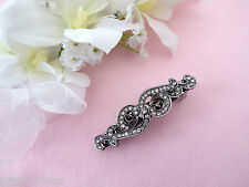 Lovely Small Vintage look antiqued bow crystal hair clip barrette French Clip