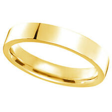 4 mm Wedding Ring Band Flat Comfort Fit 14k yellow Gold