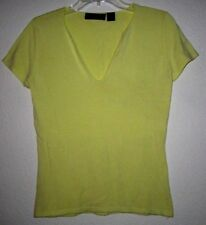 EXPRESS STRETCH Yellow Sweater Cap Sleeve Fitted Fit Casual T Tee Top Shirt M