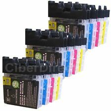 12 compatible BROTHER DCP-195C printer ink cartridges