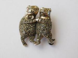 925 Sterling Silver Marcasite Mr and Mrs Pig Brooch