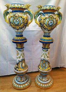 PAIR OF LARGE VASES WITH BASE. ENAMELLED CERAMIC. TRIANA (?). SPAIN. XIX-XXTH