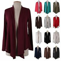 Open Front Irregular Hem Knit Shawl Cardigan Solid Plain Long Sleeve Draped Top