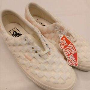 Vans Low top raised fabric lace up cream pink shoes 721454 wmns 8.5 mens 7
