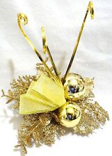 """6"""" LARGE GOLD GLITTER LEAVES BAUBLES BALLS METAL CLIP-ON CHRISTMAS ORNAMENT NEW"""