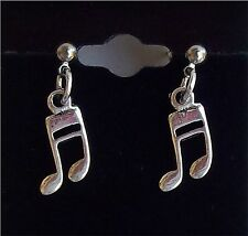 SPECIAL SALE!! LAST ONE!!!  MUSIC 8TH NOTE DROP DANGLE EARRINGS SILVER TONE