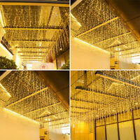 LED Fairy String Hanging Icicle Snowing Curtain Light Wedding Xmas Party Decor D