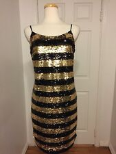 NWT Soprano Sequin Gold And Black Striped Dress Plus Size 1X