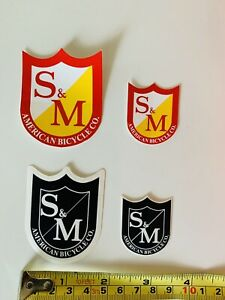S and M S/&M BLACK Race BMX BIKE RIDE FRAME STICKER DECAL Old School Vintage