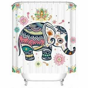 Floral Cartoon Elephant Animal Modern Bathroom Waterproof Bath Shower Curtain