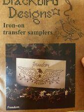 Cross Stitch Stamped Blackbird Designs Iron On Sampler Freedom Transfer Sealed