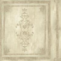 Wallpaper Designer Faux Wood Architectural Block Panel Cream Beige Metallic Gold