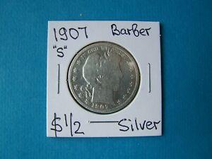 "US COINS 1907 YEAR ""S"" BARBER HALF DOLLAR NICE SILVER COIN"