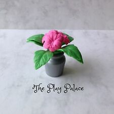 Barbie House Plant Silver Pot Pink Flowers Green Leaves Home Decor Mini AC633
