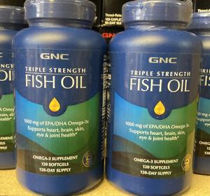 2X GNC Triple Strength Fish Oil 120 Softgels 1000mg  Super Fresh Dates 2023