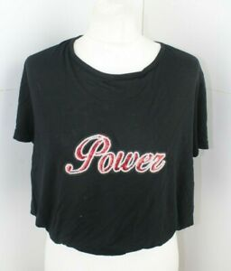 Anel Fashion Black & Red Sequin Power Logo T-Shirt New Large