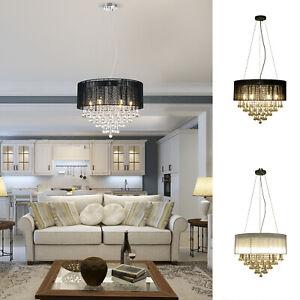 Elegant Modern Crystallite Ceiling Chandelier Light Pendant w/ Round Drum