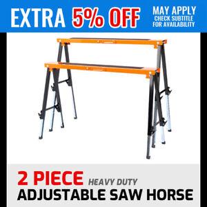 2-Piece Sawhorse Metal Folding Non-slip Support Saw Horse 120KG