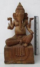 BEAUTIFULLY RESTORED Old Teak Wood Buddhist Temple Ornament Relic Lord Ganesh