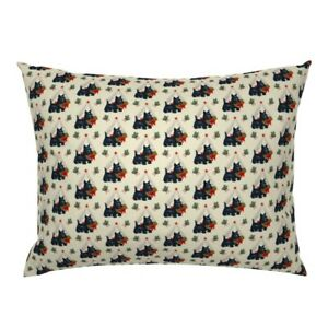 Vintage Retro 1950 Kitsch Scottie Christmas Holiday Pillow Sham by Roostery