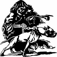 Grim Reaper Pitbull Dog Chain Skull Car Truck Window Vinyl Decal Sticker