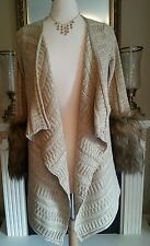 NWT $119 Stunning Boston Proper Fur Cuff Drape Cardigan Beige Gold Women Small