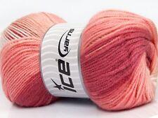 Lot of 4 x 100gr Skeins Ice Yarns MAGIC DK Yarn Salmon Shades Pink Shades