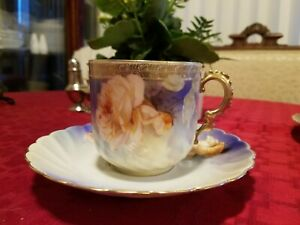Large RS Germany blue coffe cup with Rose's and gilding